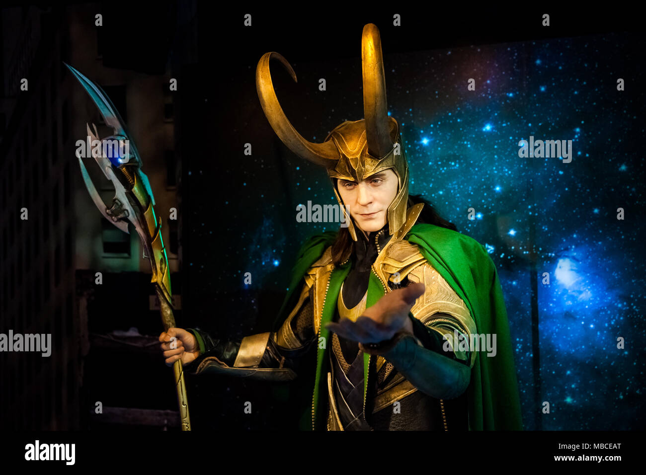 Wax figure of Loki fictional character from American comic books in Madame Tussauds Wax museum in Amsterdam, Netherlands Stock Photo
