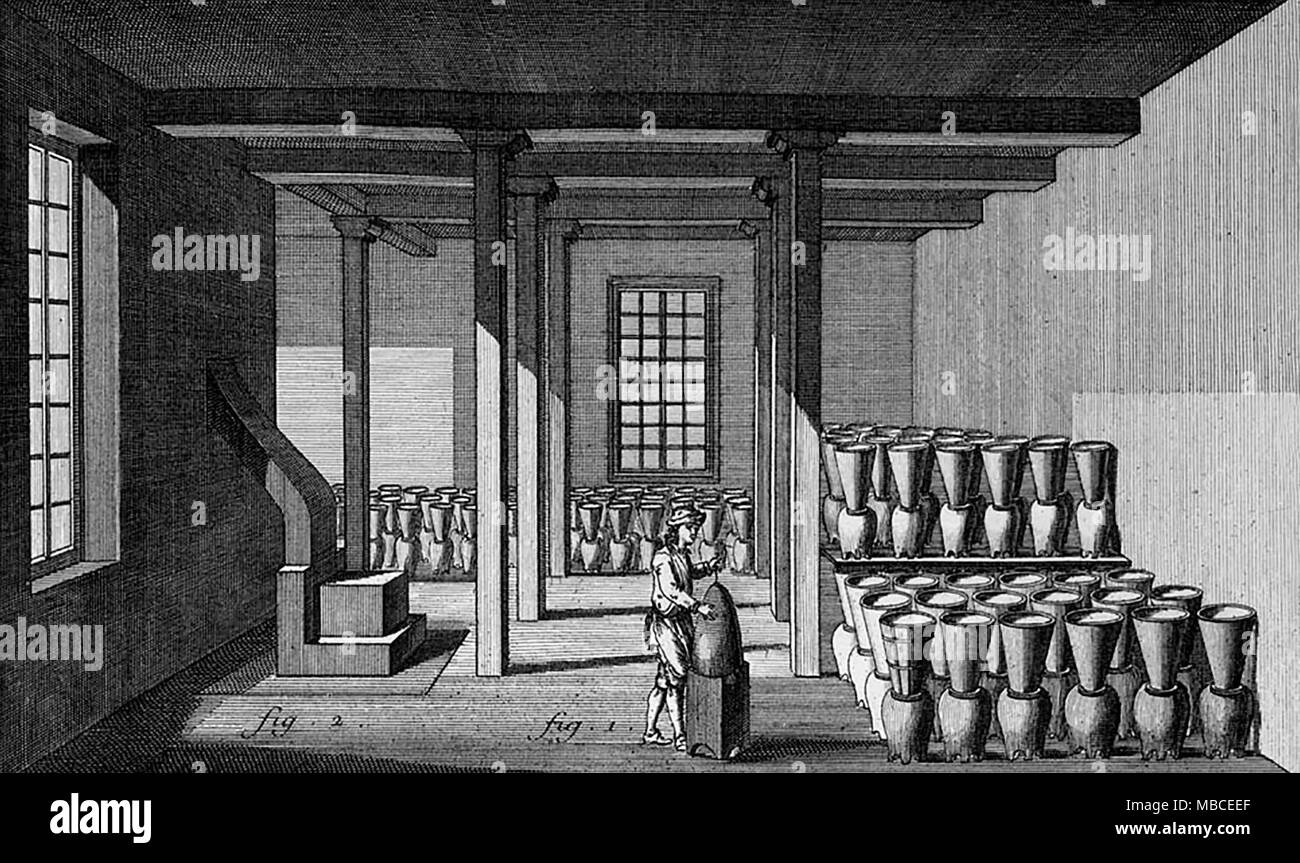 Sugar curing house, 1762. Sugar pots and jars on sugar plantation served as breeding place for larvae of A. aegypti, the vector of yellow fever. - Stock Image