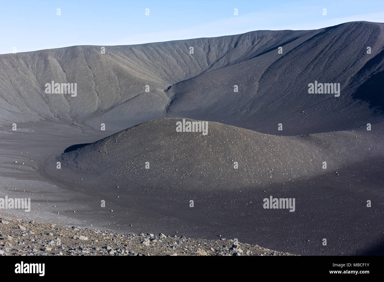 Abstract landscape in light blue and grey in Iceland. Terrain in Iceland under a blue sky. - Stock Image