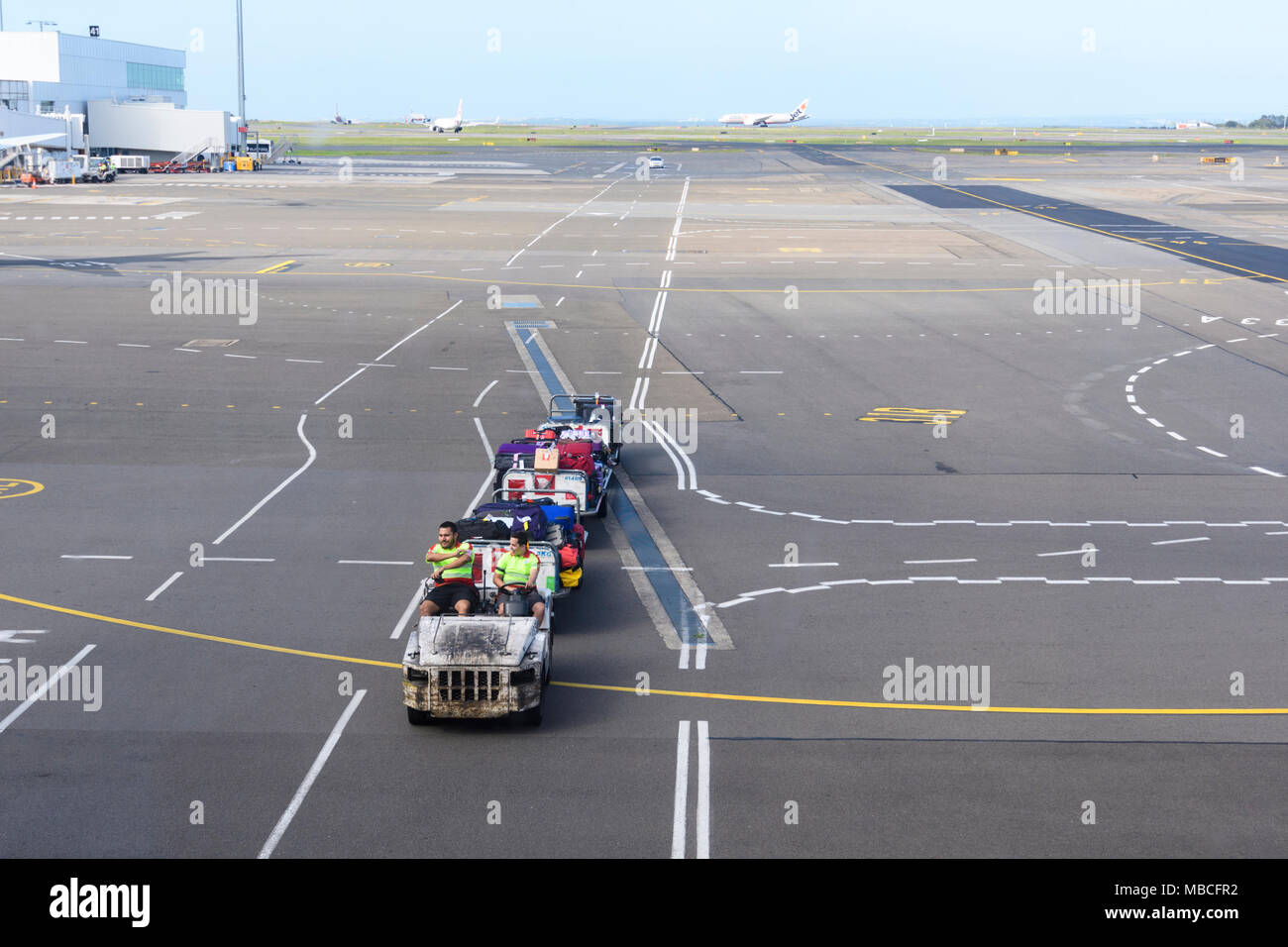 Ground Staff driving baggage handling carts on the tarmac at Sydney Airport, Australia - Stock Image
