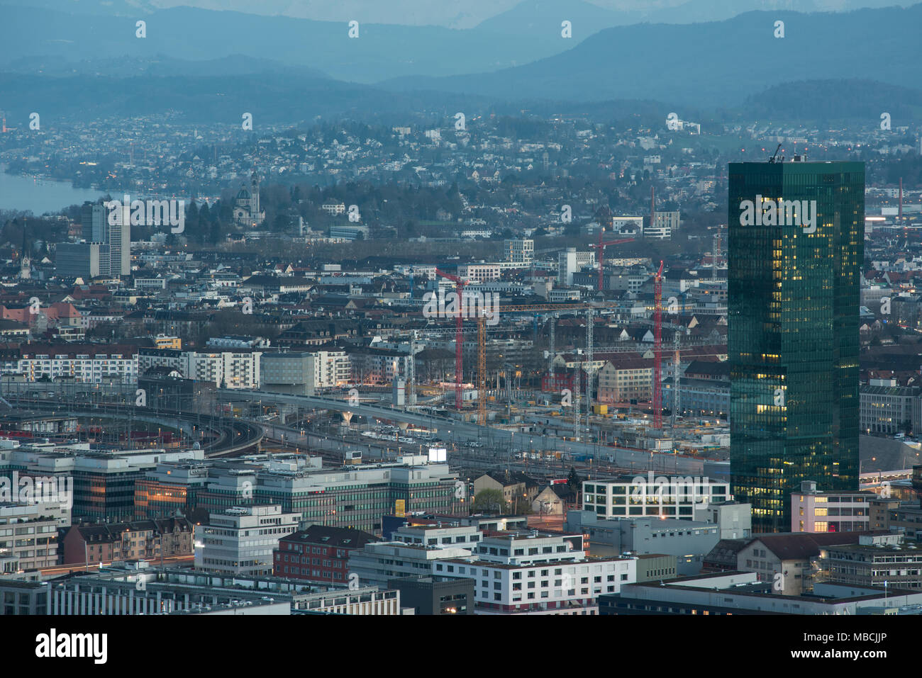 zurich cityscape at night - Stock Image