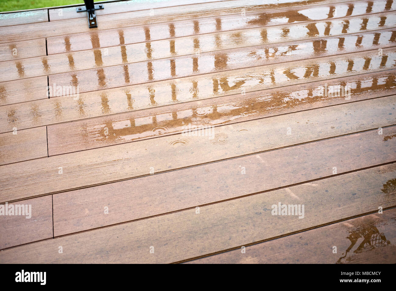 Wet slippery surface of wooden platform after rain - Stock Image