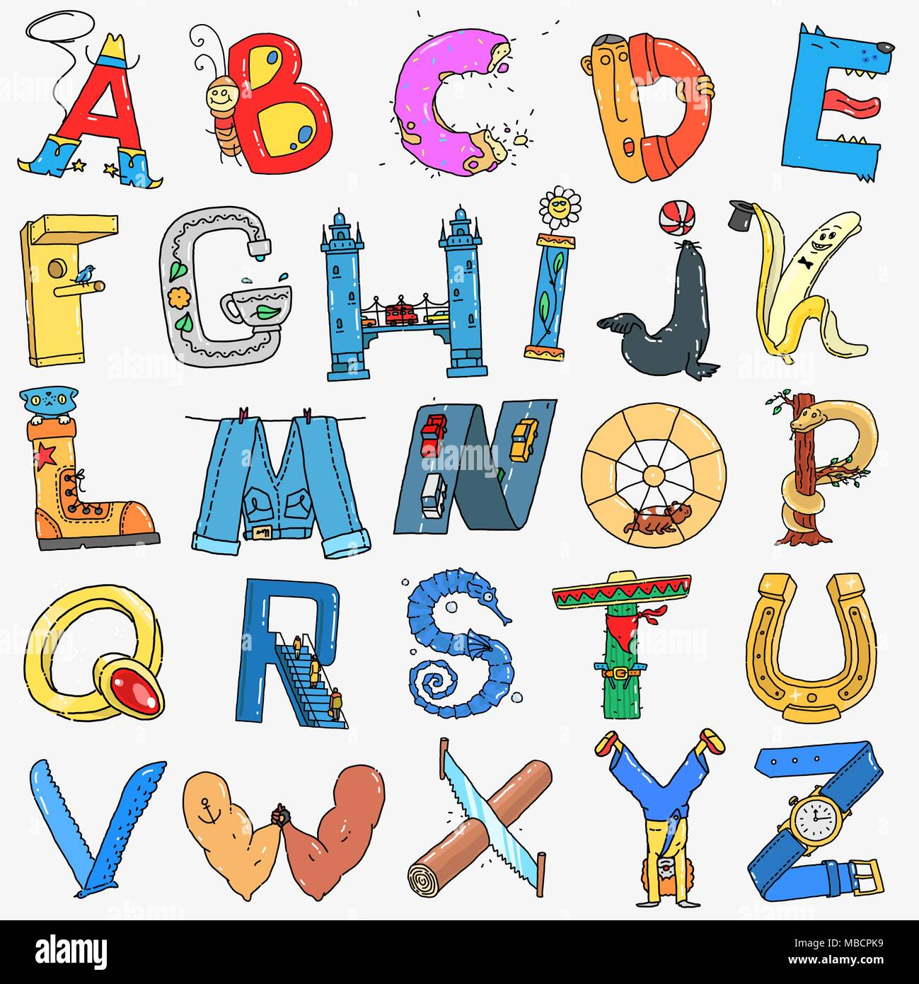 vector english alphabet cartoon style stock vector image art alamy https www alamy com vector english alphabet cartoon style image179146109 html