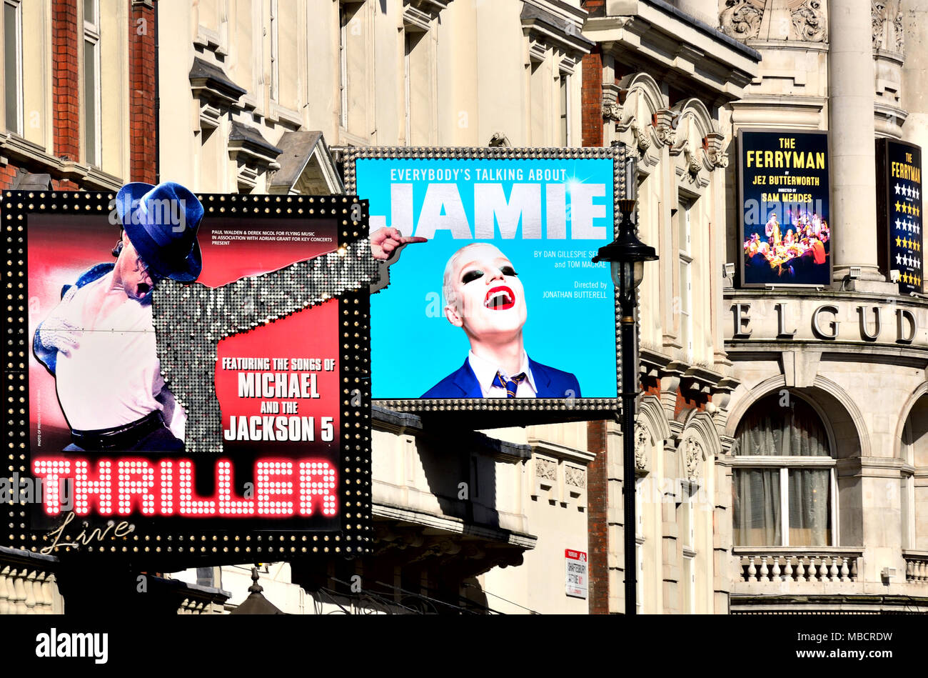 London, England, UK. Theatres on Shaftesbury Avenue. Thriller (Lyric) Everybody's Talking About Jamie (Apollo) Ferryman (Gielgud) - Stock Image