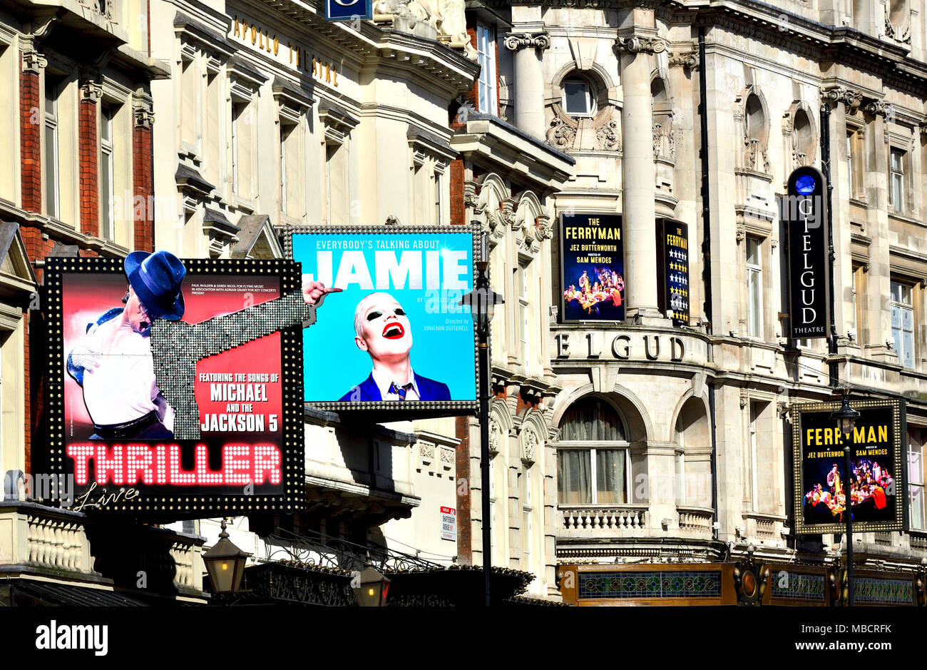 London, England, UK. Theatres on Shaftesbury Avenue. Thriller (Lyric) Everyone's Talking about Jamie (Apollo) Ferryman (Gielgud) - Stock Image