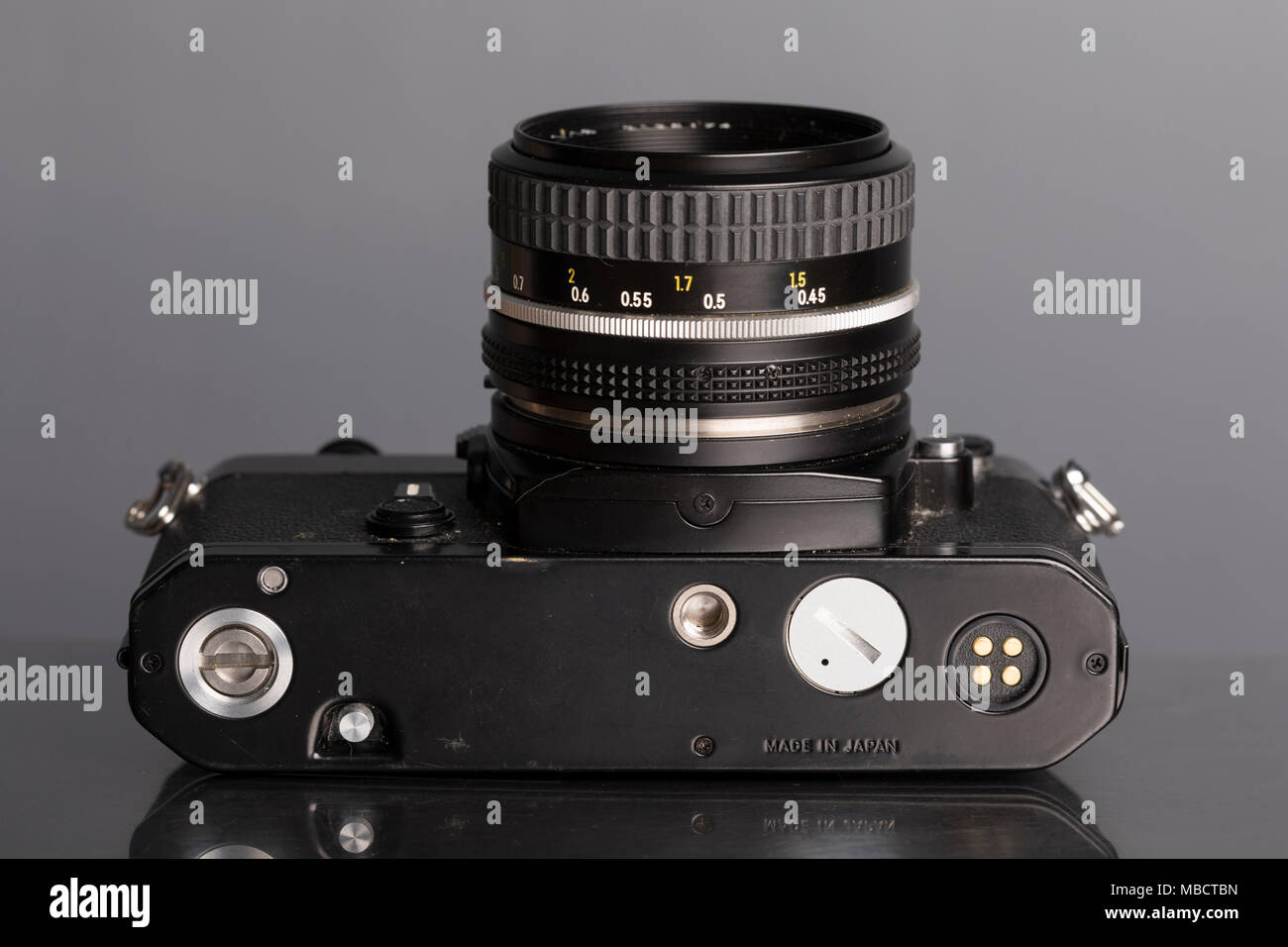 Nikon FE 35mm SLR single lens reflex film camera with 50mm f1.8 Nikkor lens - Stock Image