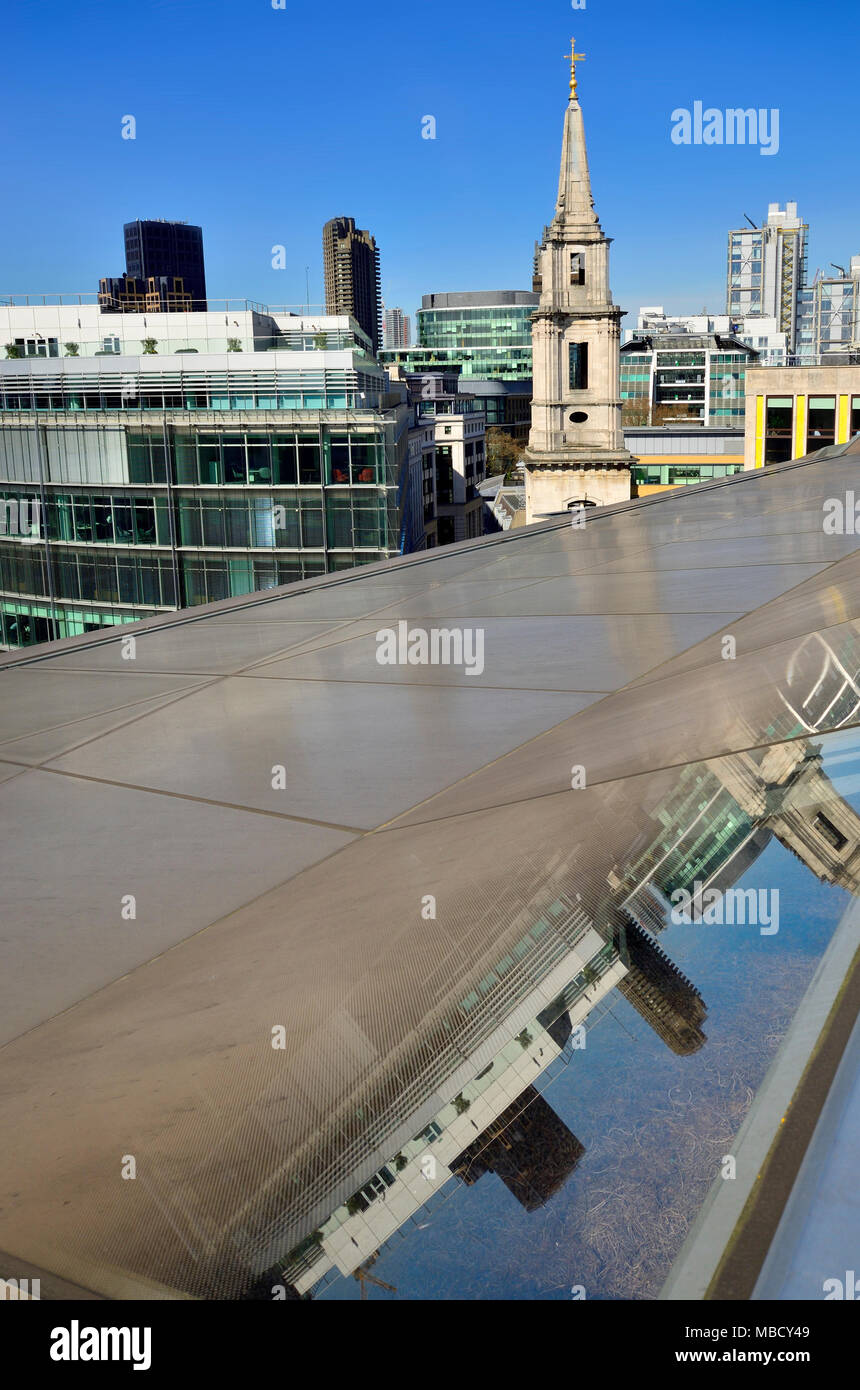 London, England, UK. The roof of One New Change, near St Paul's Cathedral: Spire of St Vedast alias Foster church - Stock Image
