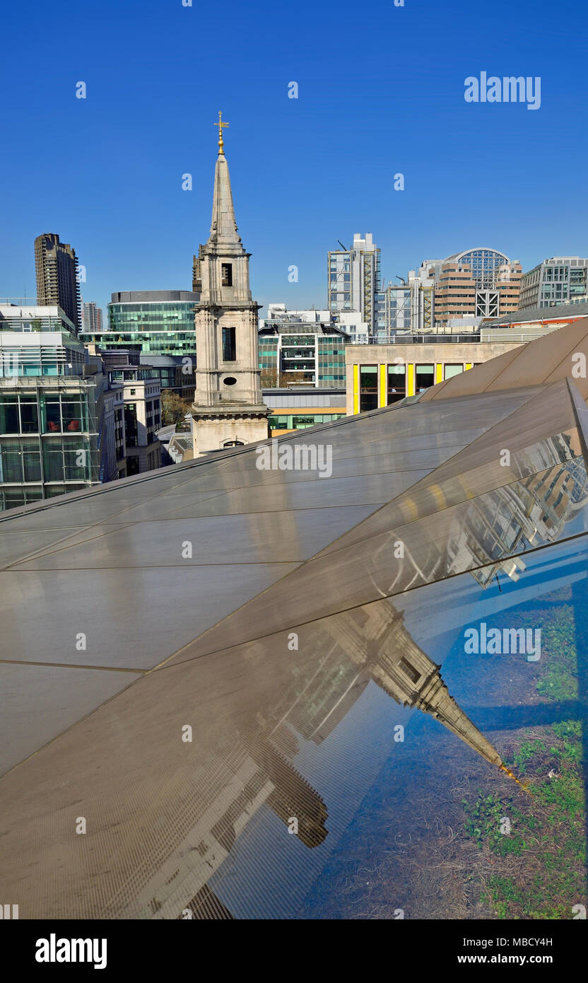 London, England, UK. The roof of One New Change, near St Paul's Cathedral. Spire of St Vedast Alias Foster - Stock Image