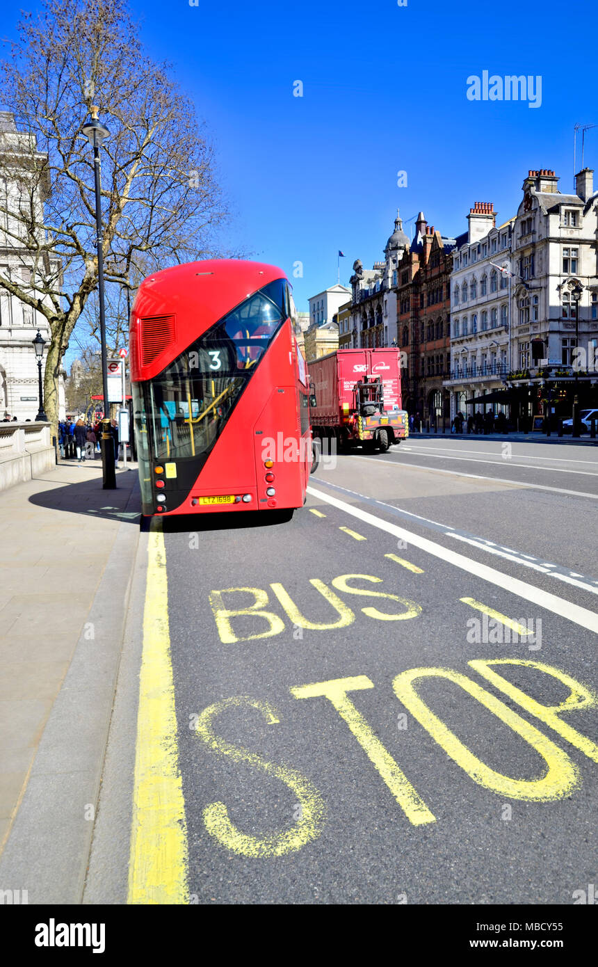 London, England, UK. Bus stop in Whitehall - New Routemaster bus (Wright NRM) - Stock Image
