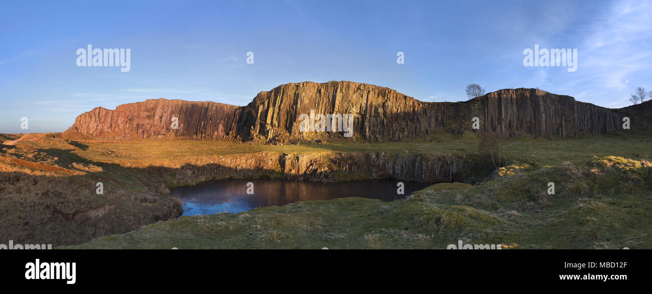Hadrian's Wall - a panoramic view of the remains of Greenhead Quarry, a little east of the main Walltown Quarry - Stock Image