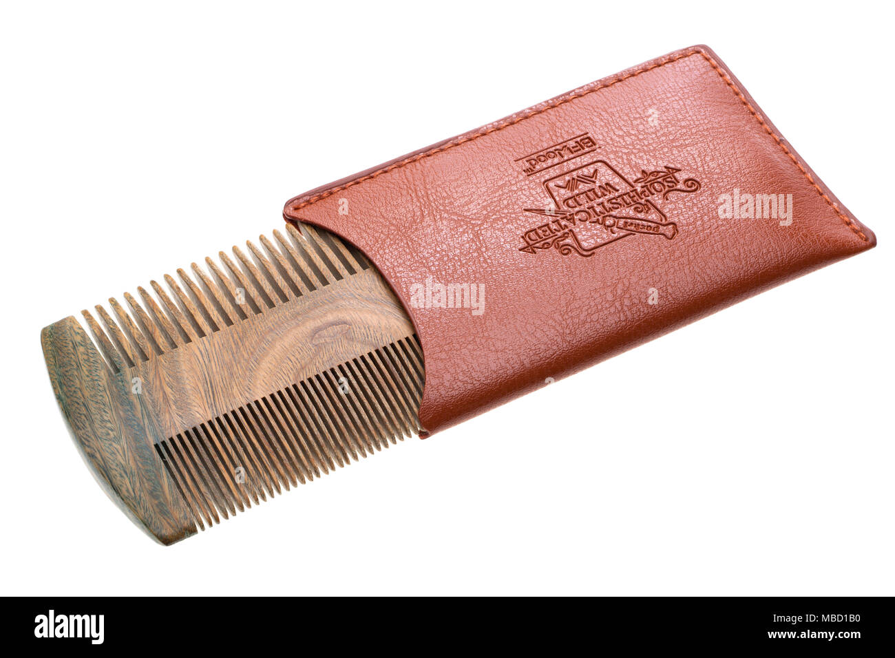 BFWood Beard & Moustache Pocket Comb - Sandalwood Comb with Leather Case - Stock Image