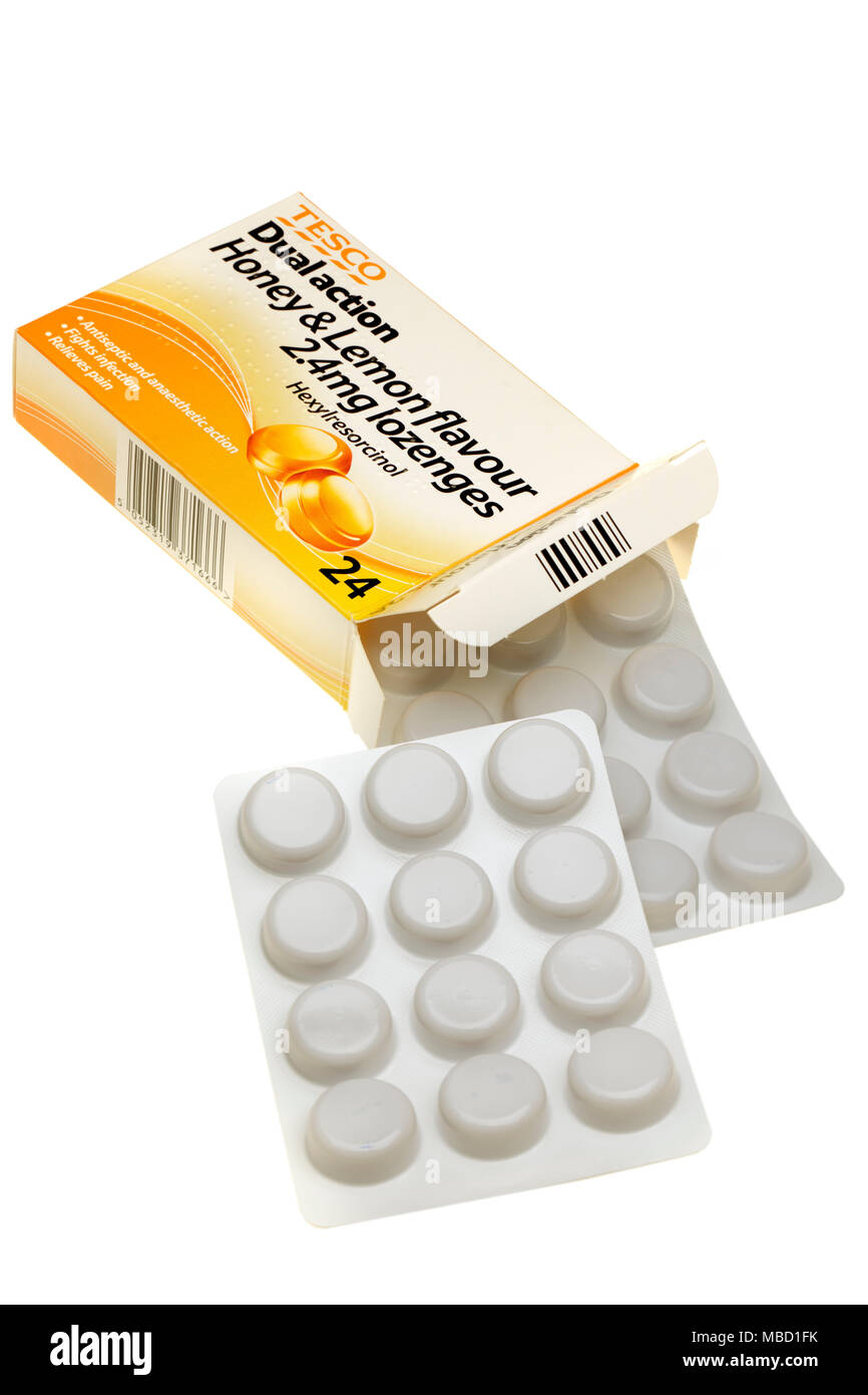 Box of Tesco Dual action honey and lemon flavoured lozenges - Stock Image