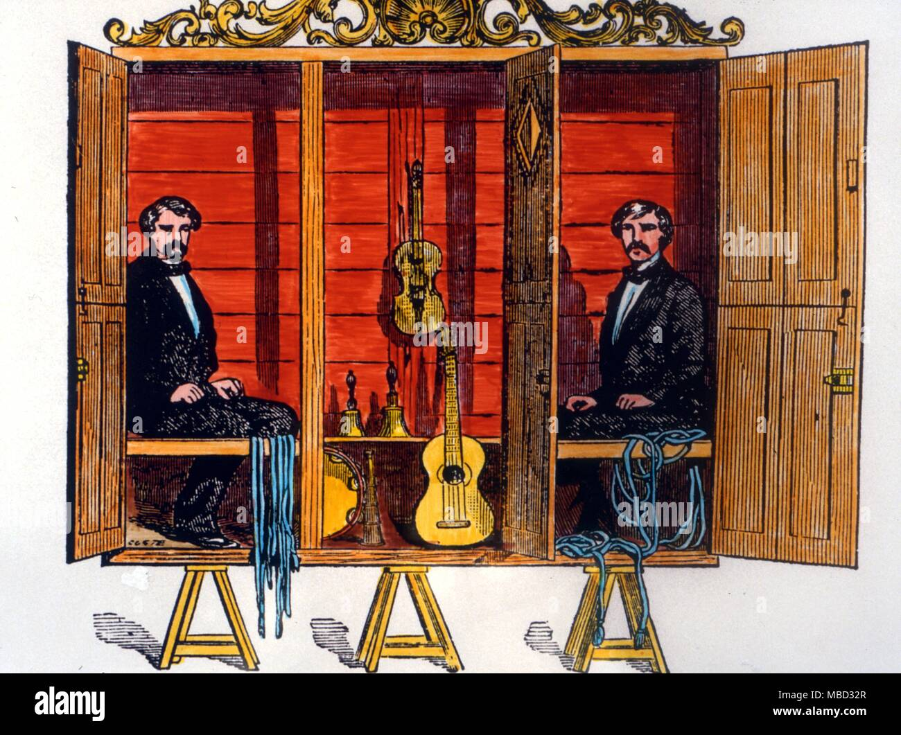 Stage Magic - The Davenports.  William Henry (died 1877) and Ira Davenport (died 1911) were brothers who began a medium-like stage show in 1859.  They never claimed to be genuine mediums, but their act was widely imitated on the Victorian stage and at seances. - Stock Image