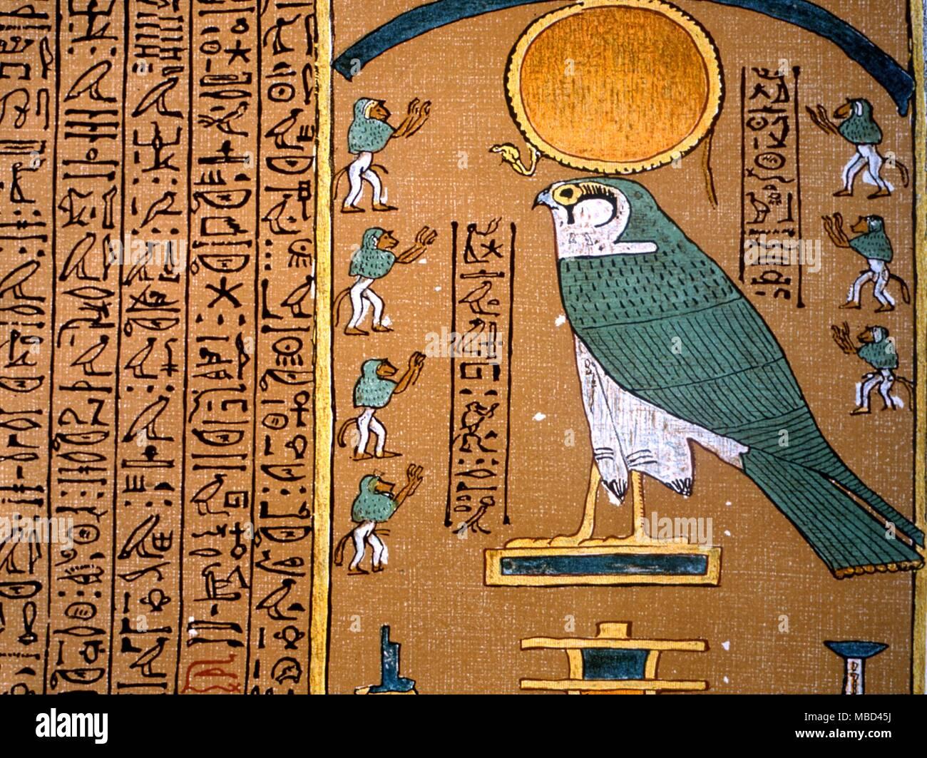 Egyptian Mythology Hieroglyphics Alongside The Image Of The Hawk