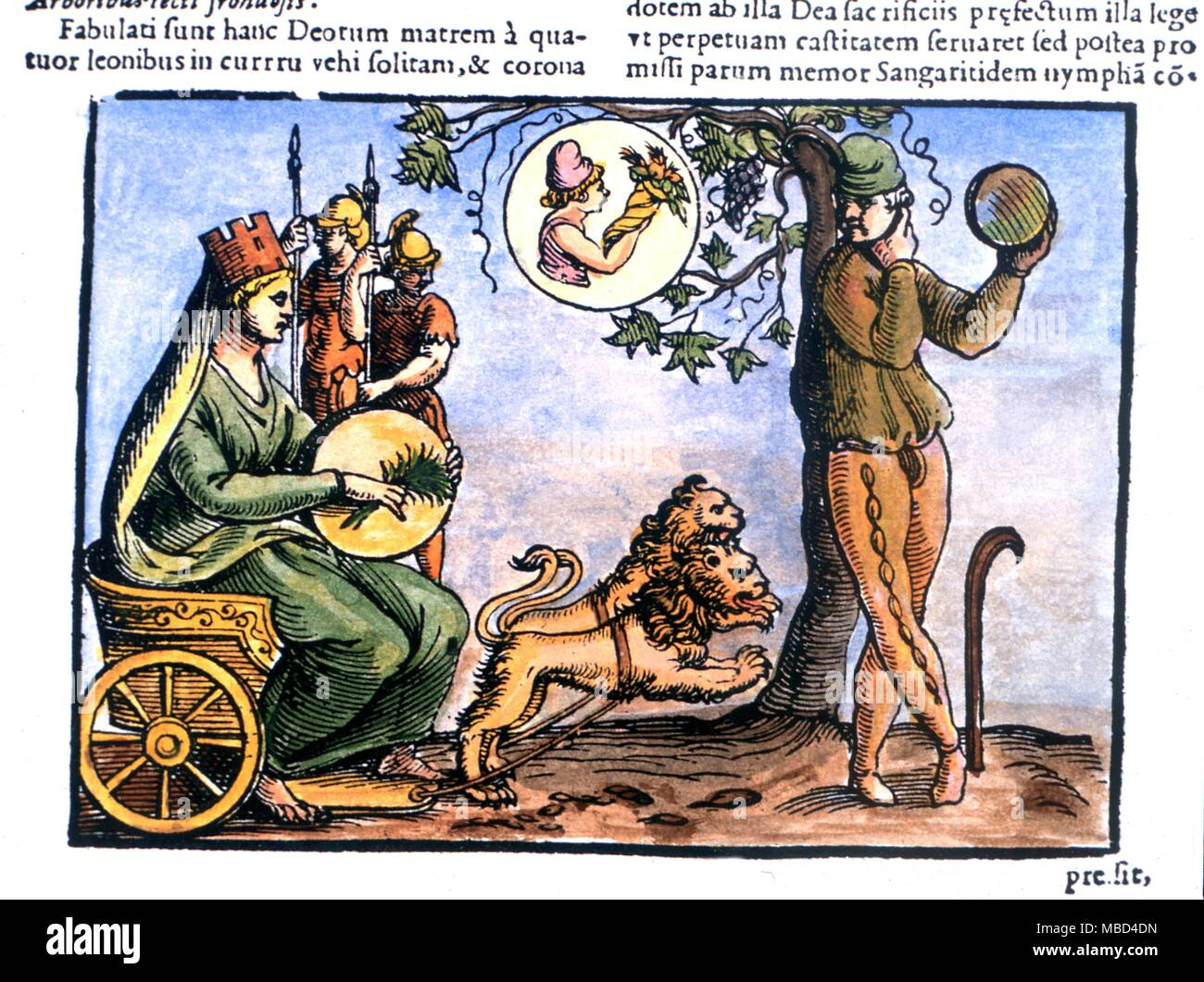 Greek Mythology - Rhea, the mother of Zeus, and one of the Titans, later identified with Cybele and Ops. Earth goddess of plenty. From Natalis Comitis' 'Mythologiae'. Lib. V, 17th century edition. Private Collection. - Stock Image
