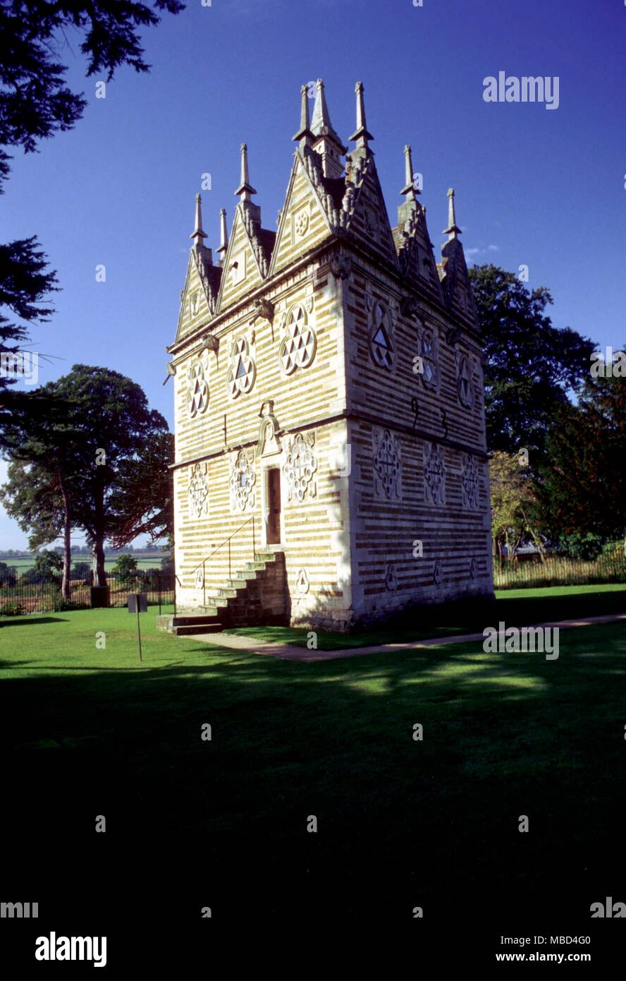 Strange places - Rushton Triangular Lodge.  Replete with many magical symbols.  Built by Sir Thomas Gresham in 1597.  The number three plays an important part in the symbolic programme  - © /Charles Walker - Stock Image