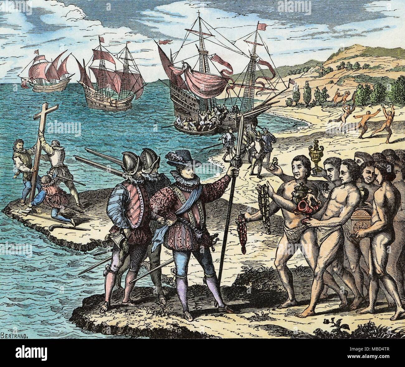 HISTORY OF AMERICA - COLUMBUS  On 12 May 1492, Christopher Columbus erects the cross, and invests the Isle of Guanahani (in the Bahamas) with the name St. Salvador.   Woodengraving based on the copperprint by Theodore de Bry, Grands Voyages, 1590. - Stock Image