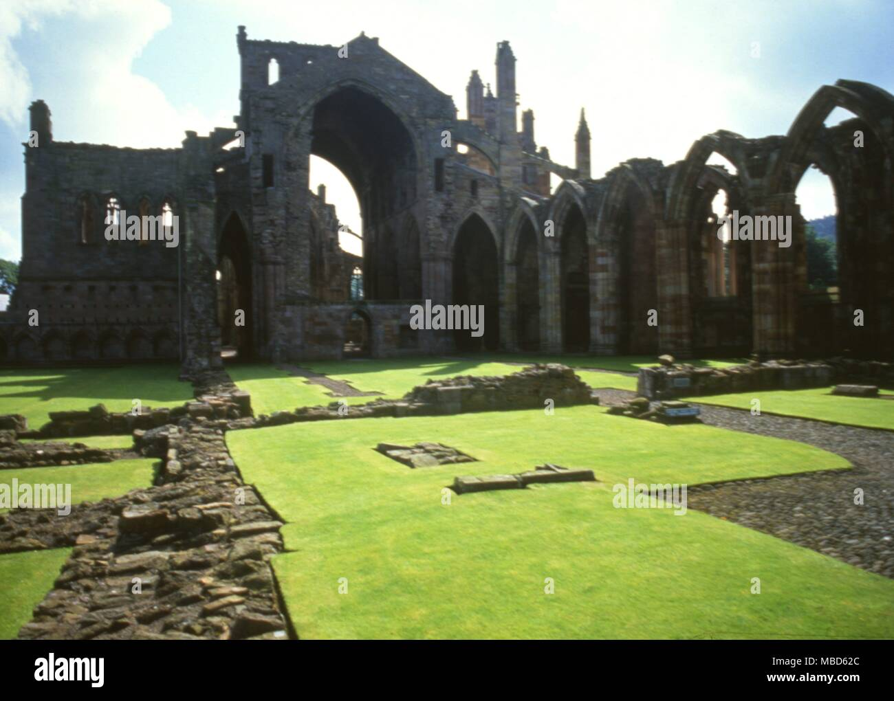 The Abbey at Melrose is steeped in Scottish history. Inside the abbey is the supposed burial place of the magician, Michael Scot . Stock Photo