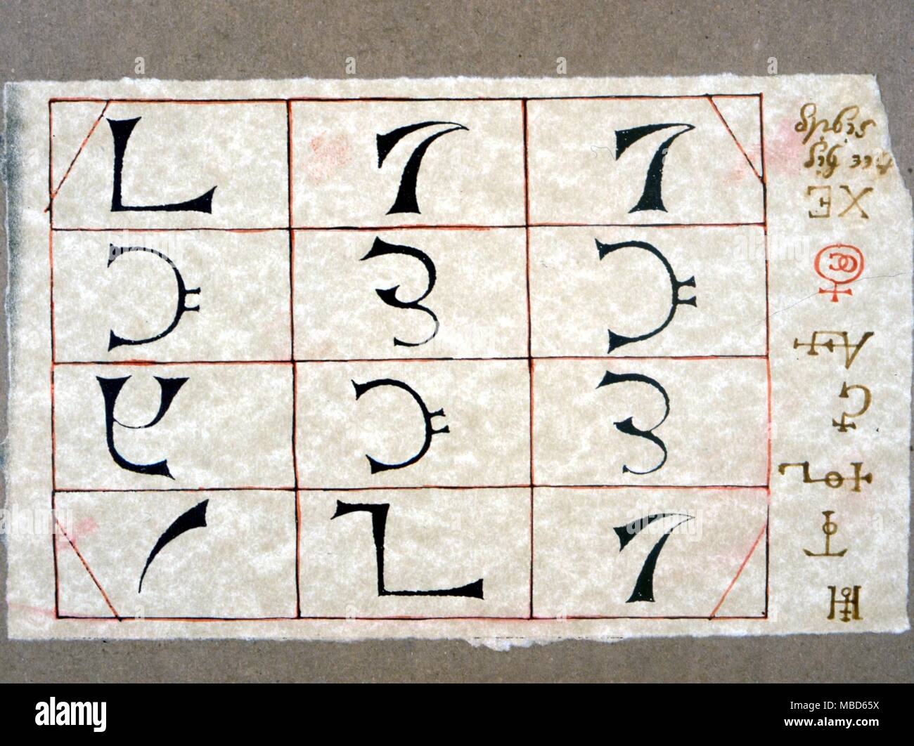 ALPHABETS - By John Dee for evoking spirits  This is detail of plate