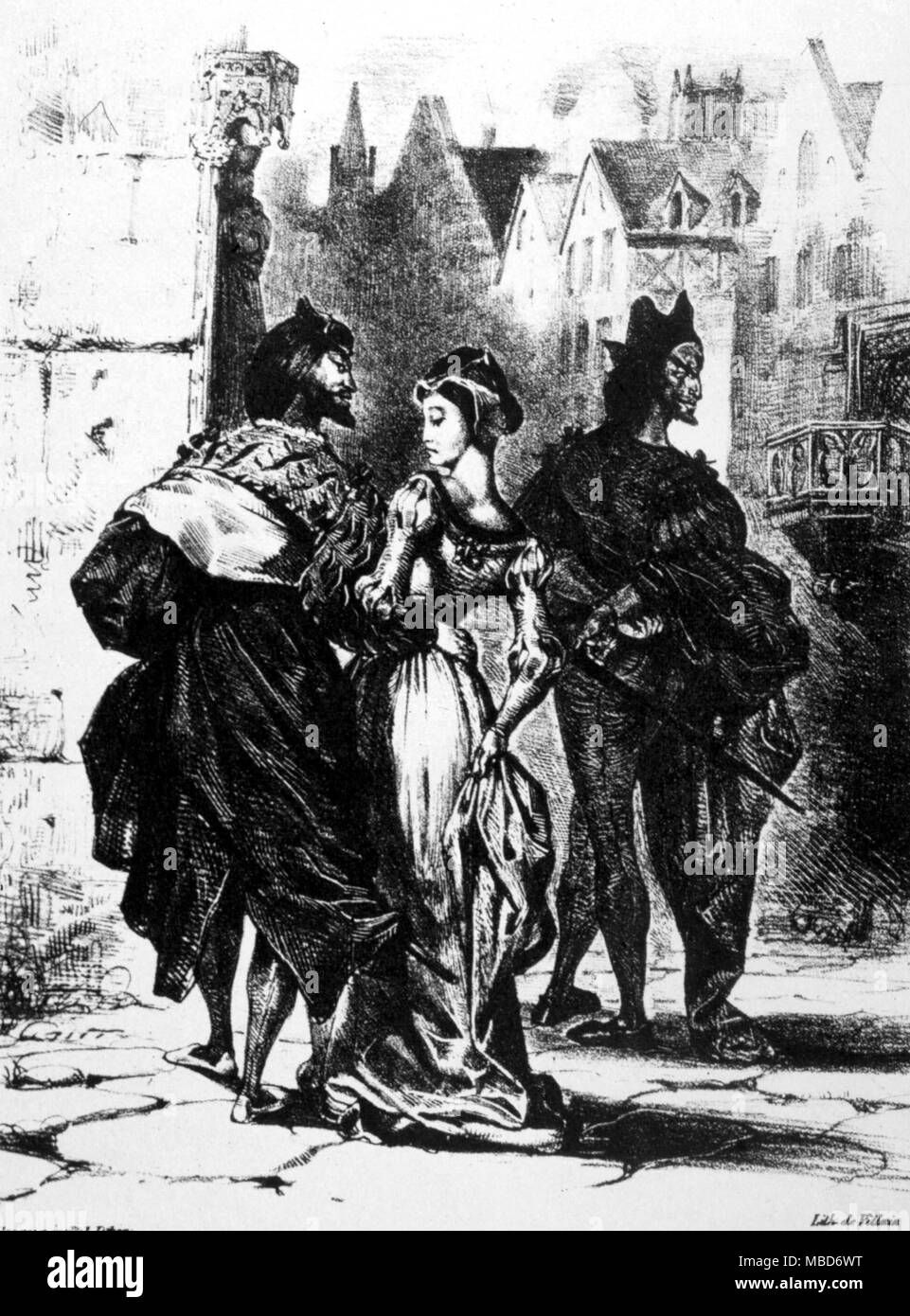 Faust, Mephistopheles and Gretchen - from the lithograph by Delacroix (1798-1863) to Goethe's Faust - Part I - Stock Image