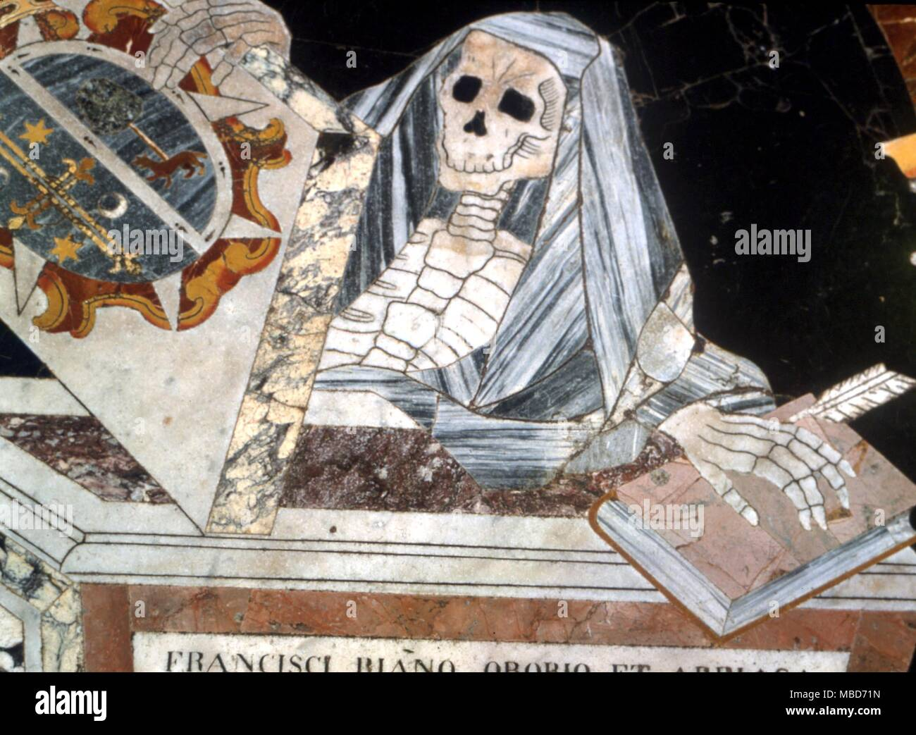 Death - skeleton in marble, from the magnificent marble pavimento of the Cathedral of St John, Valetta, Malta - eighteenth century Stock Photo
