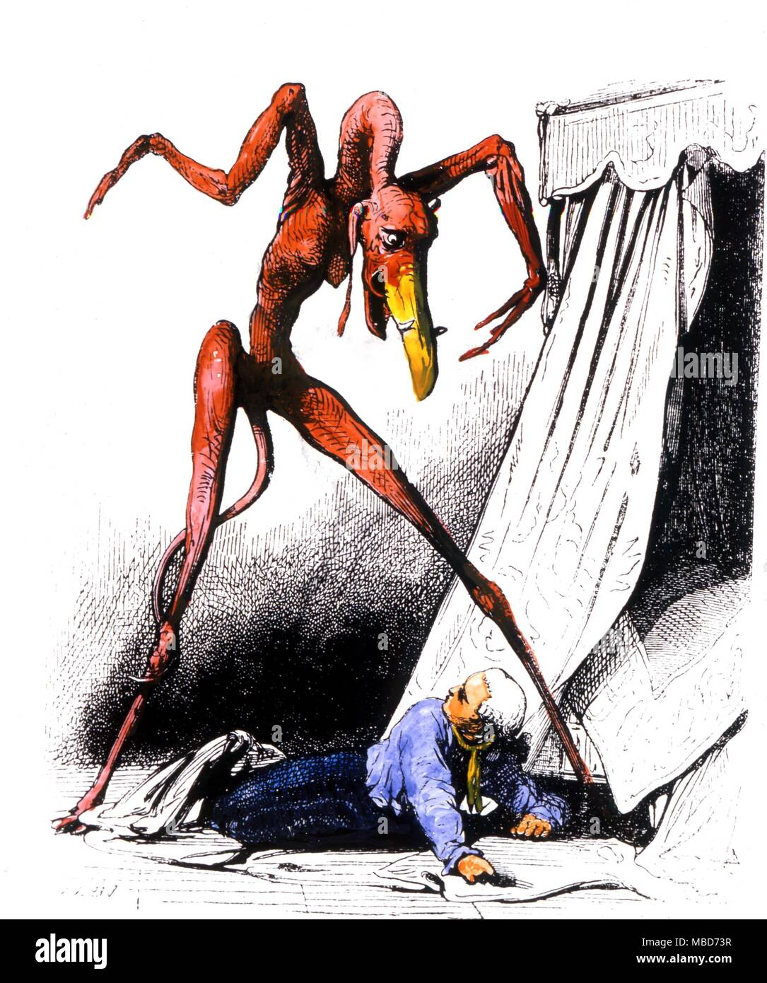 Demons - Nightmare demon used as a woodengraving by Collin de Plancy in his Dictionnaire Infernal of 1863 but derived from a painting by Salvator Rosa - Stock Image