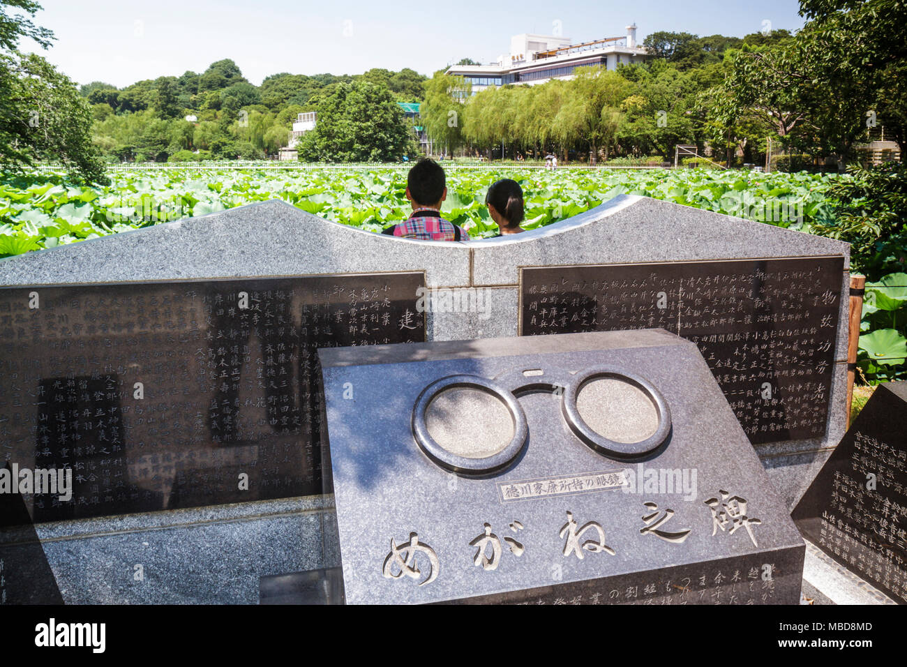 Tokyo Japan Ueno Ueno Park Ueno-koen Shinobazu Pond water lilies flora nature Bentendo Hall shrine memorial man woman couple kan Stock Photo