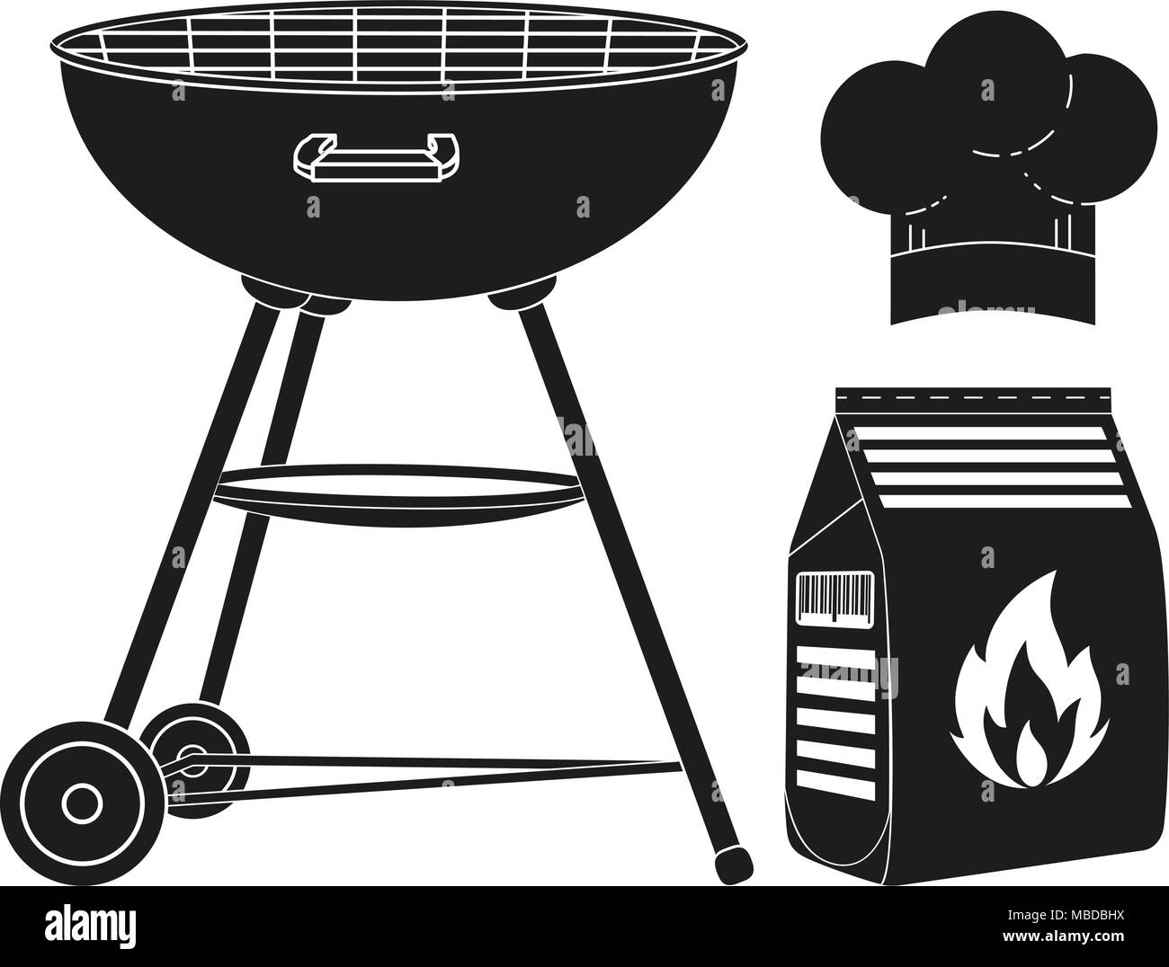 Black and white outdoors cooking silhouette set. BBQ grill, coal bag ...