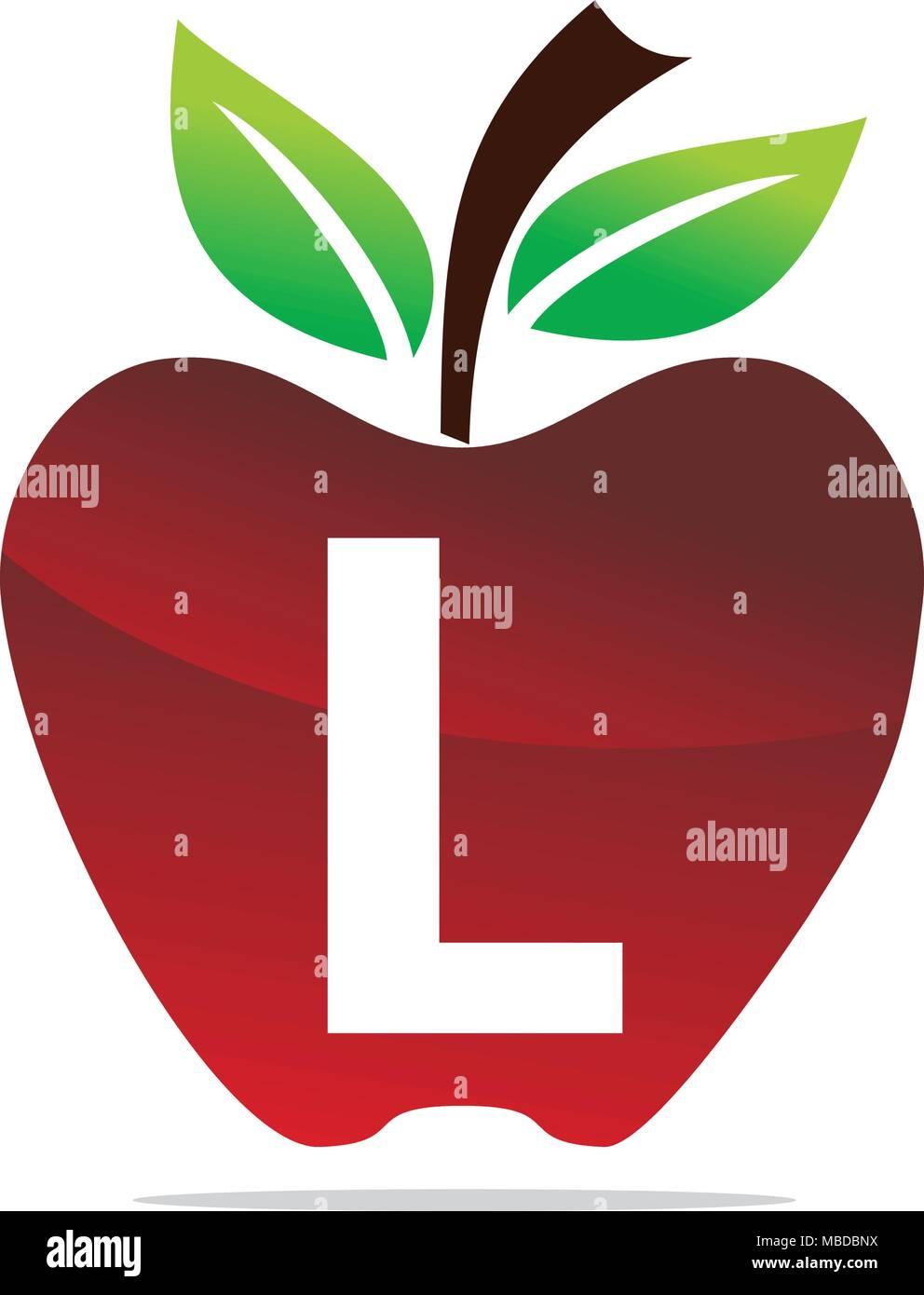 apple letter l logo design template vector