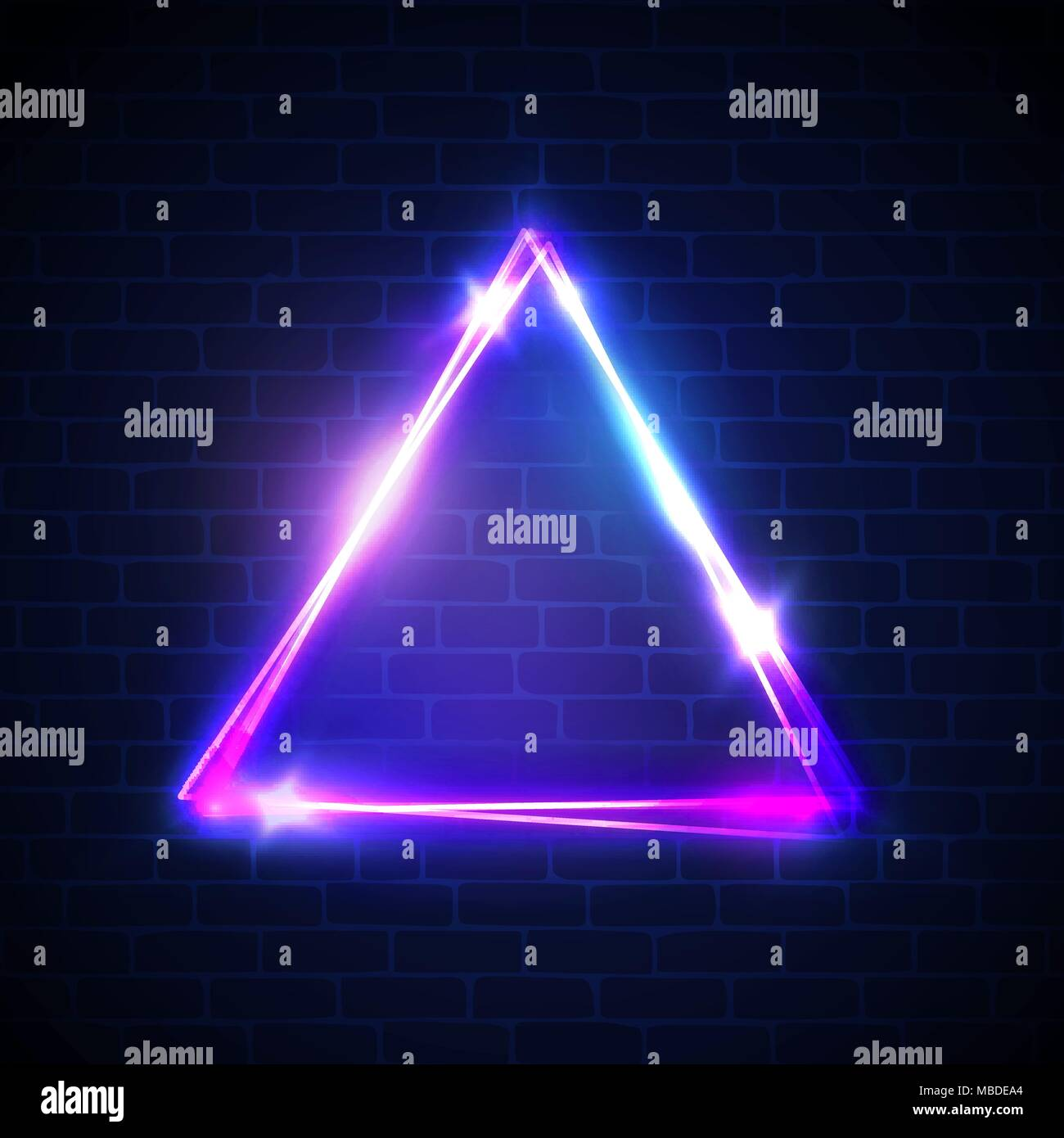 night club neon light border on brick wall triangle background