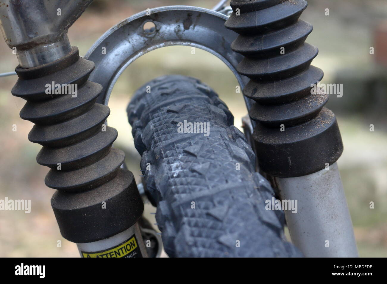 Front shock absorbers of a mountain bike - Stock Image