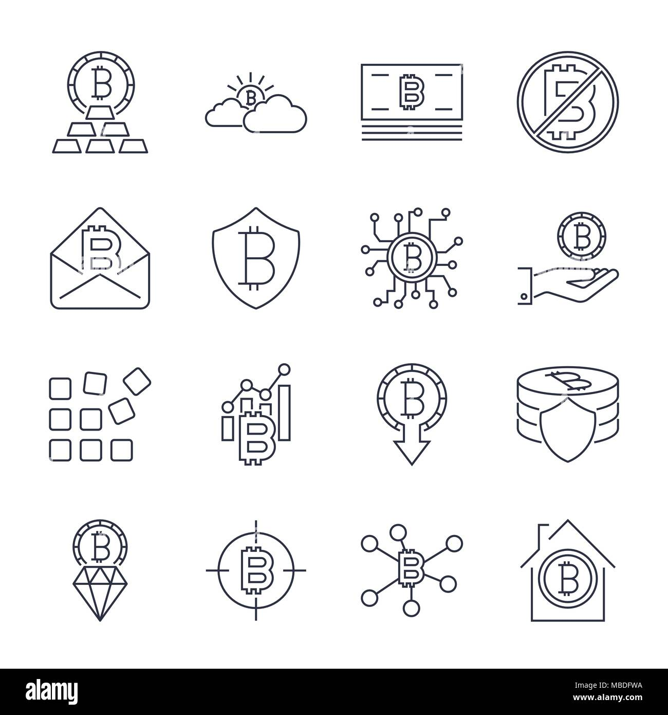 Bitcoin different icons set for internet money crypto currency symbol and coin image for using in web, apps, programs and other. Editable Stroke - Stock Image