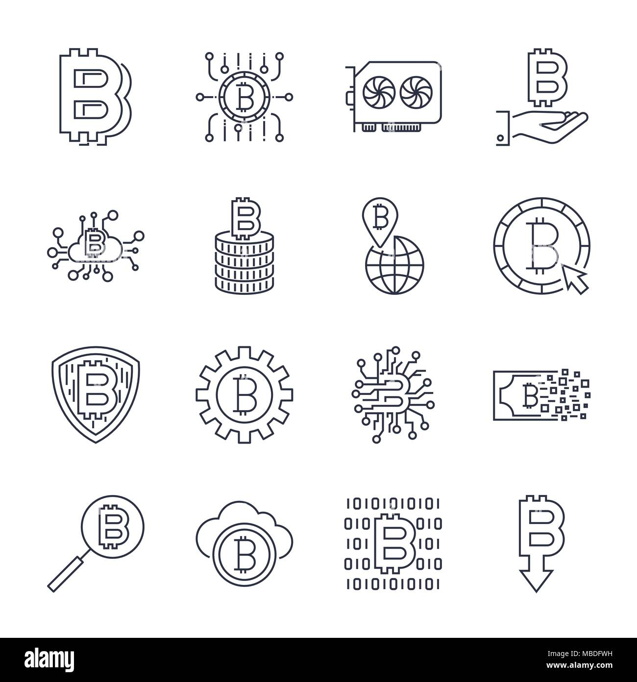 Set of vector bitcoin line icons. Investments, payments and exchange, internet banking, wallet, bundle of money, hand with a coin and more. Editable Stroke. - Stock Vector