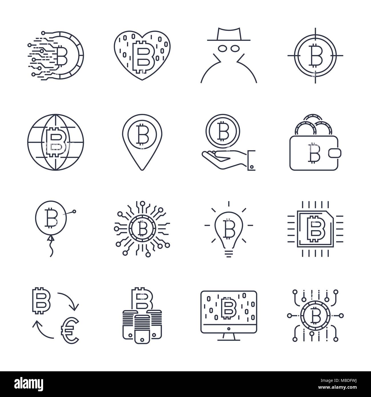 Set of vector bitcoin line icons. Investments, payments and exchange, internet banking, wallet, bundle of money, hand with a coin and more. Editable Stroke - Stock Vector