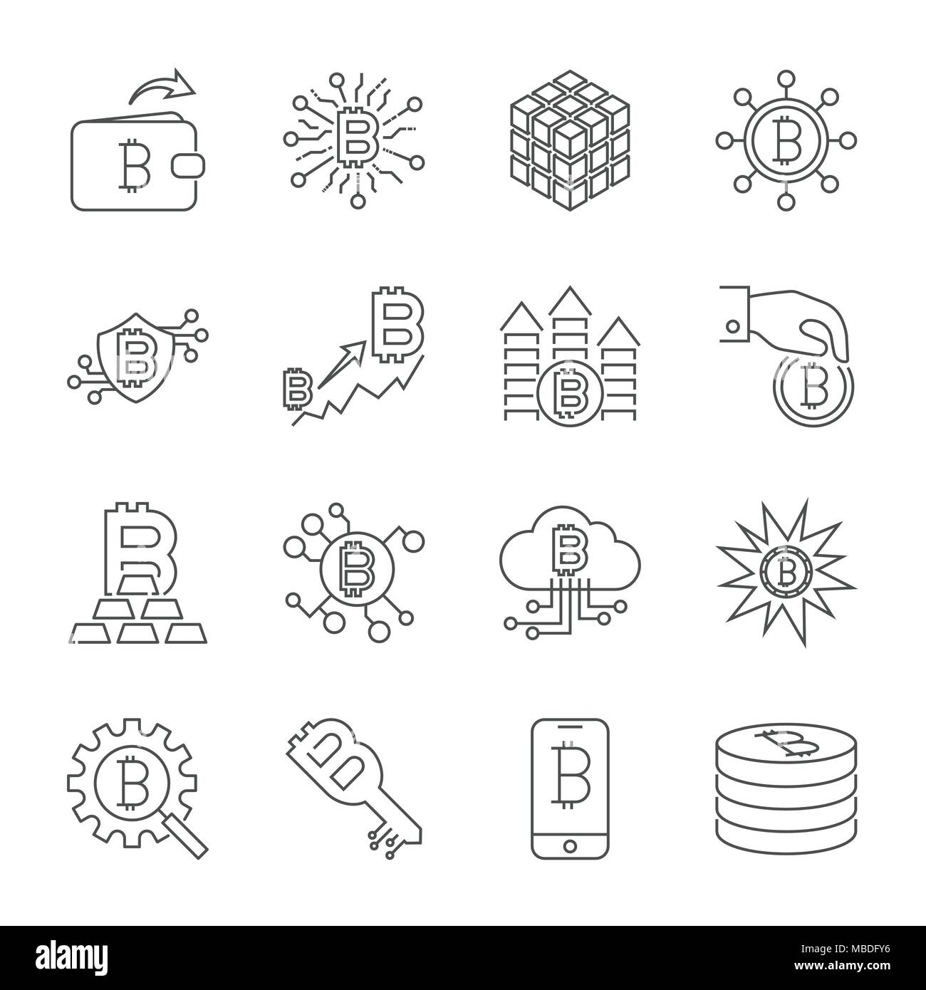 Vector Line Cryptocurrency Icons. Thin Outline Bitcoin Symbols.  - Stock Vector