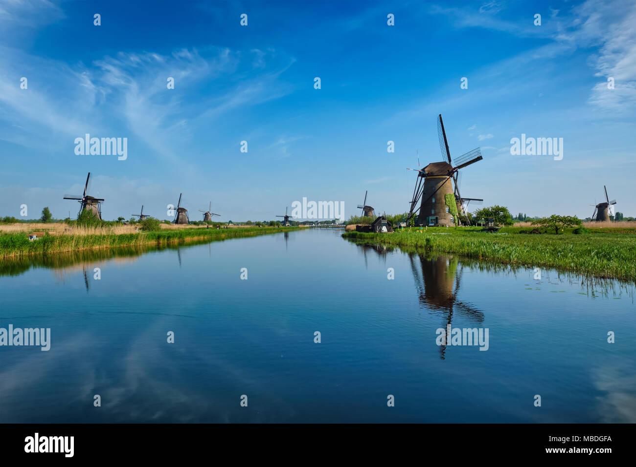 Windmills at Kinderdijk in Holland. Netherlands - Stock Image