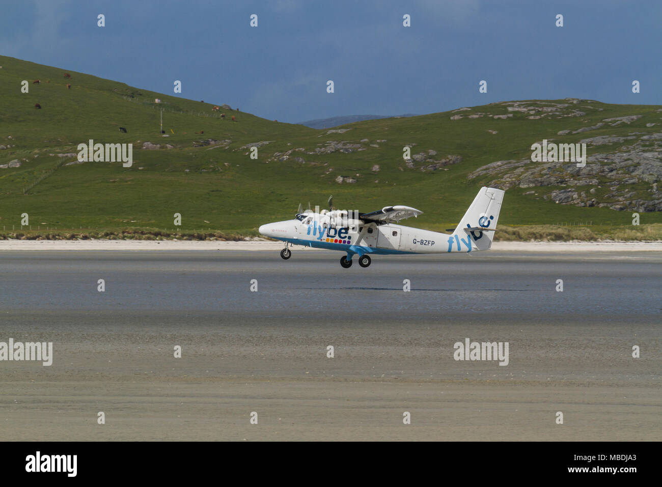 DHC Twin Otter passenger aeroplane taking off from the beach runway at Barra Airport, Isle of Barra, Outer Hebrides, Scotland - Stock Image