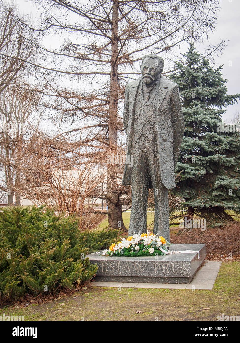 WARSAW, POLAND-APRIL 3, 2018: Boleslaw Prus Monument in Krakowskie Przedmiescie - Stock Image