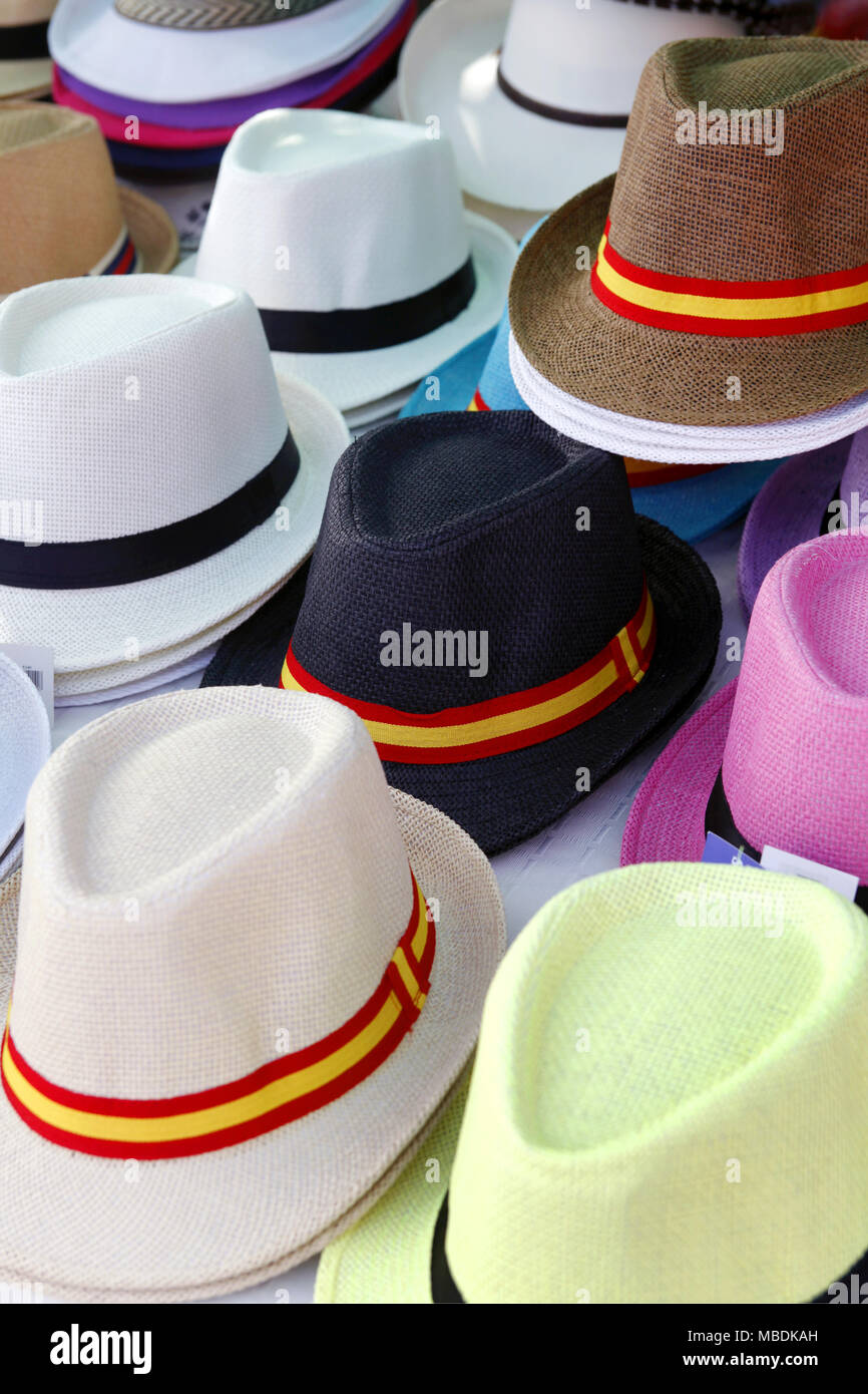 4351f99659b113 Straw hats with ribbons for sale at a local market, Gran Canaria, Canary  Islands, Spain