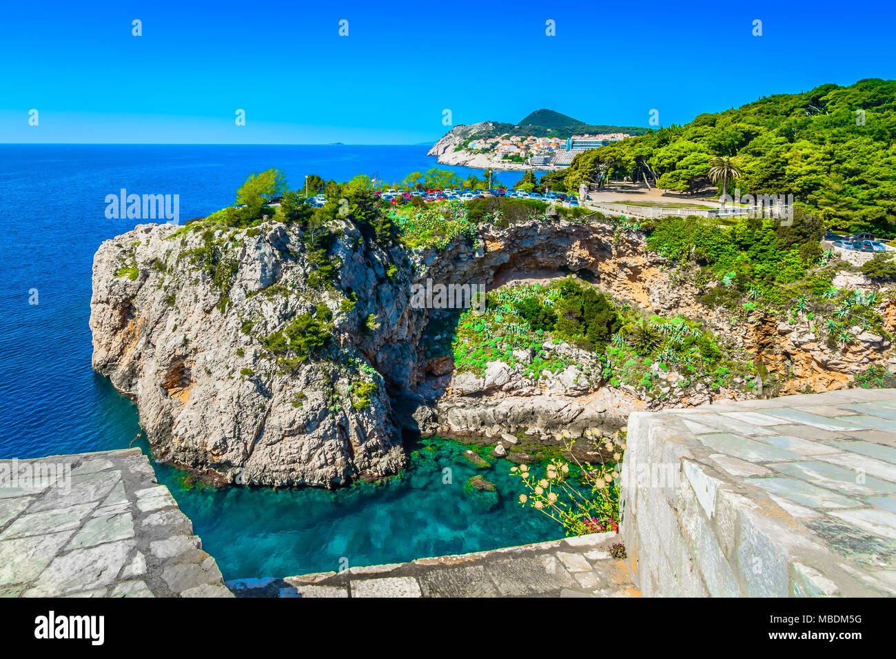 Scenic view at marble mediterranean coast and sea in Dubrovnik, Croatia. Stock Photo