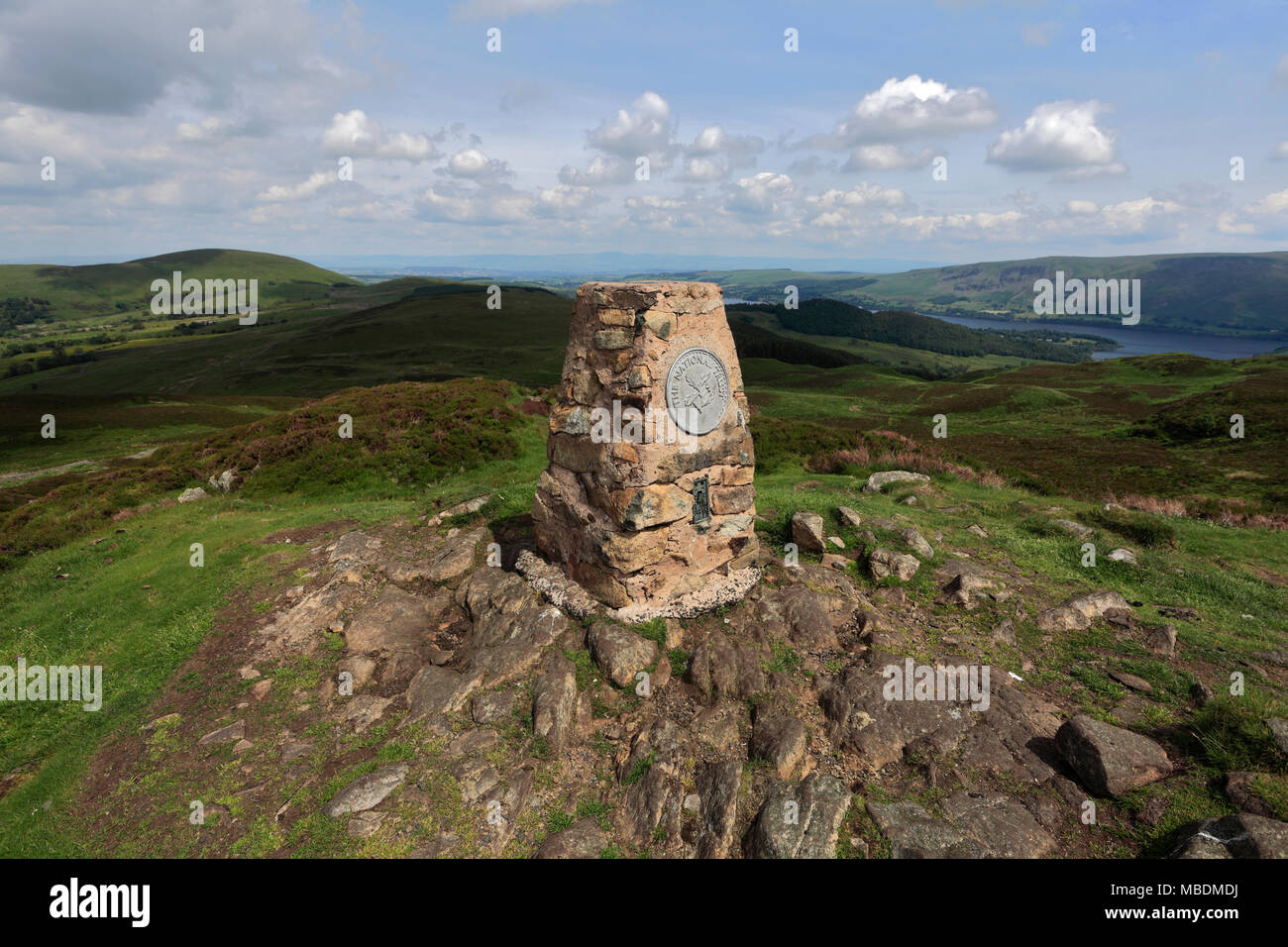 OS trig point on the summit of Gowbarrow fell, Lake District National Park, Cumbria County, England, UK Stock Photo