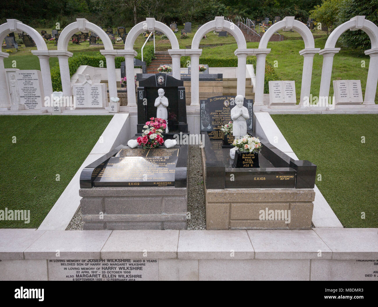Memorials and grave markers in Aberfan Cemetery to children
