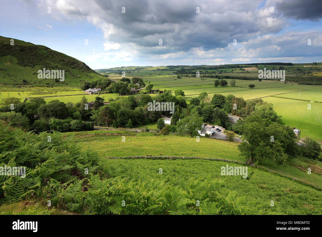 View over Mungrisdale village from Souther fell, Lake District National Park, Cumbria County, England, UK - Stock Image