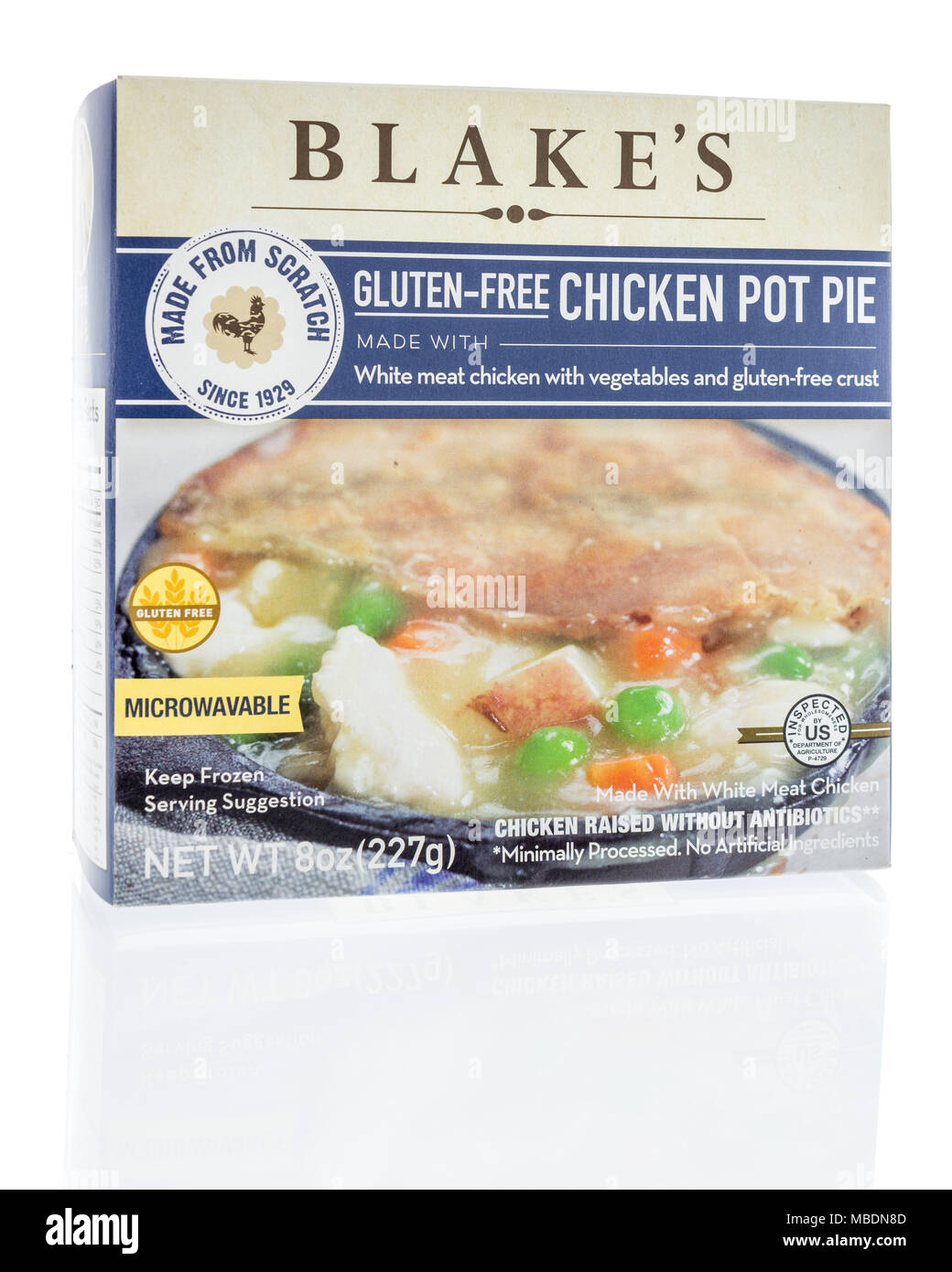 Winneconne, WI -  7 April 2018: A box of Blakes gluten-free chicken pot pie on an isolated background. - Stock Image