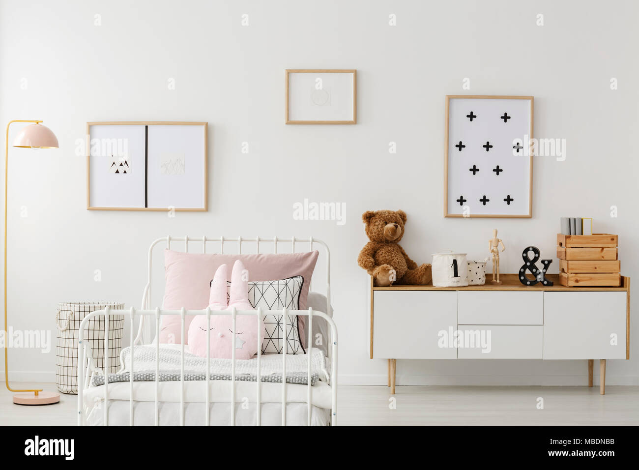Plush Bear On White Cupboard Against The Wall With Posters In Kidu0027s Bedroom  Interior With Mockup