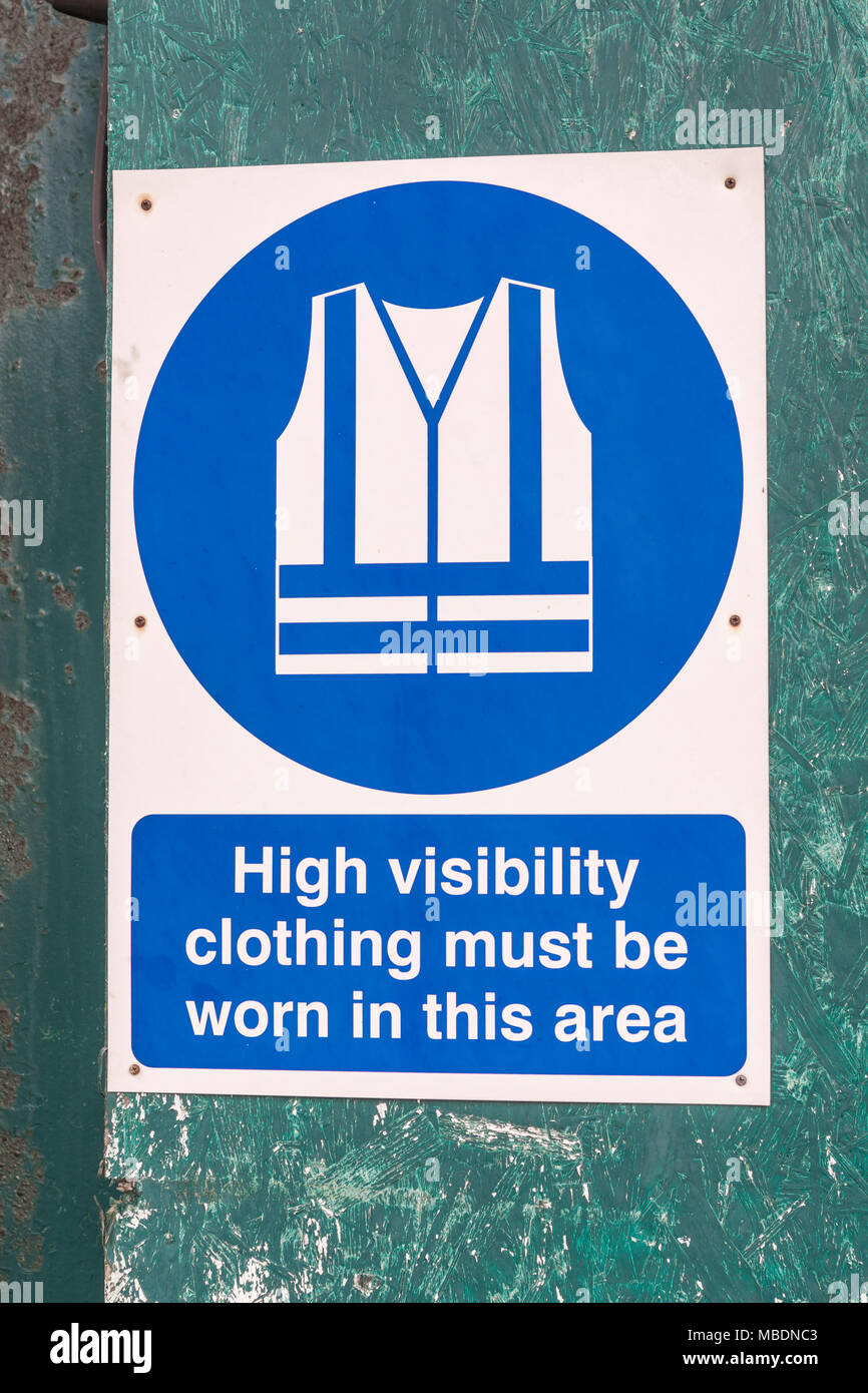 Health and Safety sign - Hi-Viz clothing required. Stock Photo