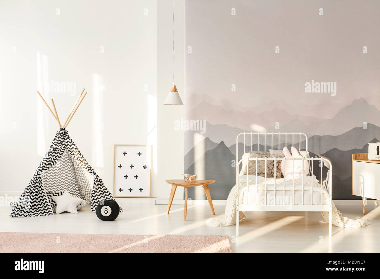 Download Wallpaper Mountain Bedroom - white-childs-bed-against-a-wall-with-mountain-wallpaper-in-bedroom-interior-with-patterned-tent-MBDNC7  Graphic_619744.jpg