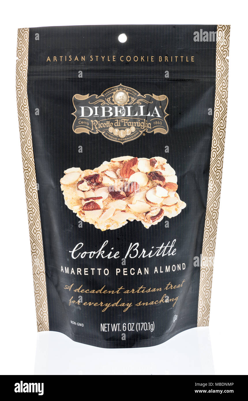 Winneconne, WI -  7 April 2018: A bag of Dibella ricette di famiglia artisan style cookie brittle  on an isolated background. - Stock Image