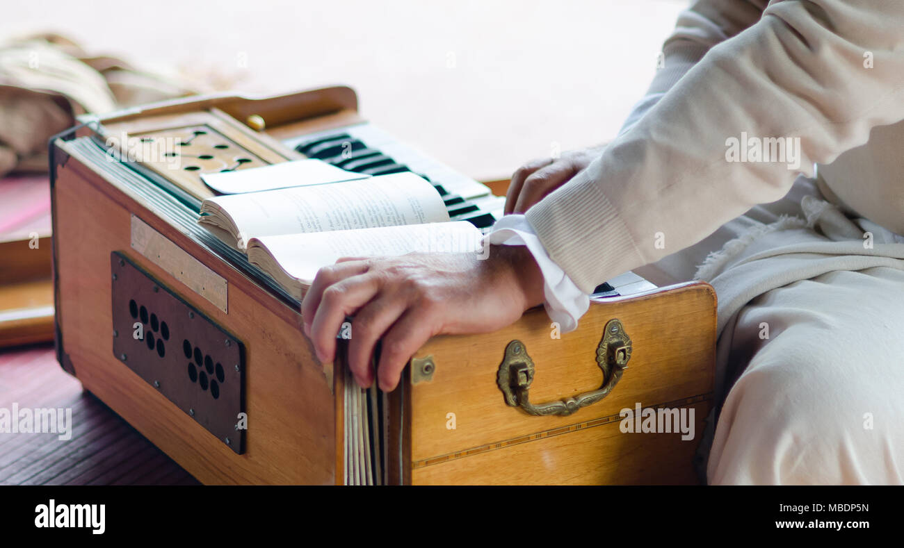 musical entertainments with harmonium during Guru Purnima - Stock Image