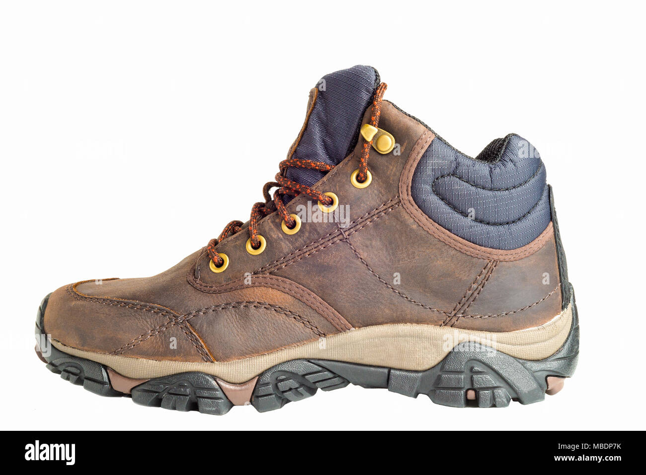 Pair of new hiking boots isolated on white background - Stock Image